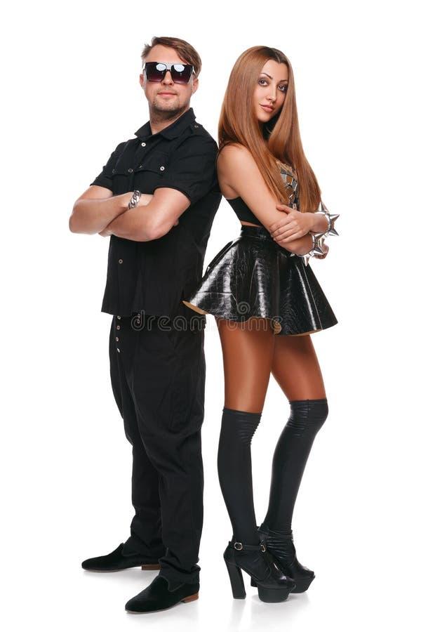 Bei uomo e donna, modelli di modo Giovani coppie atractive, isolate su fondo bianco immagini stock libere da diritti