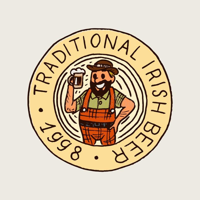Beierse biermens in uitstekende stijl Alcoholisch Etiket met kalligrafische elementen Klassiek Amerikaans kenteken voor afficheba stock illustratie