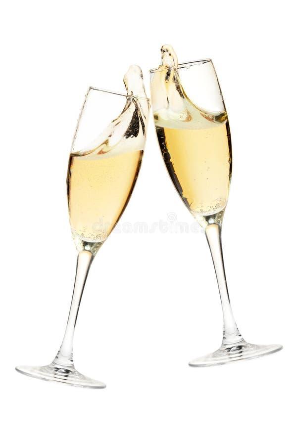 Beifall! Zwei Champagnergläser lizenzfreie stockfotos