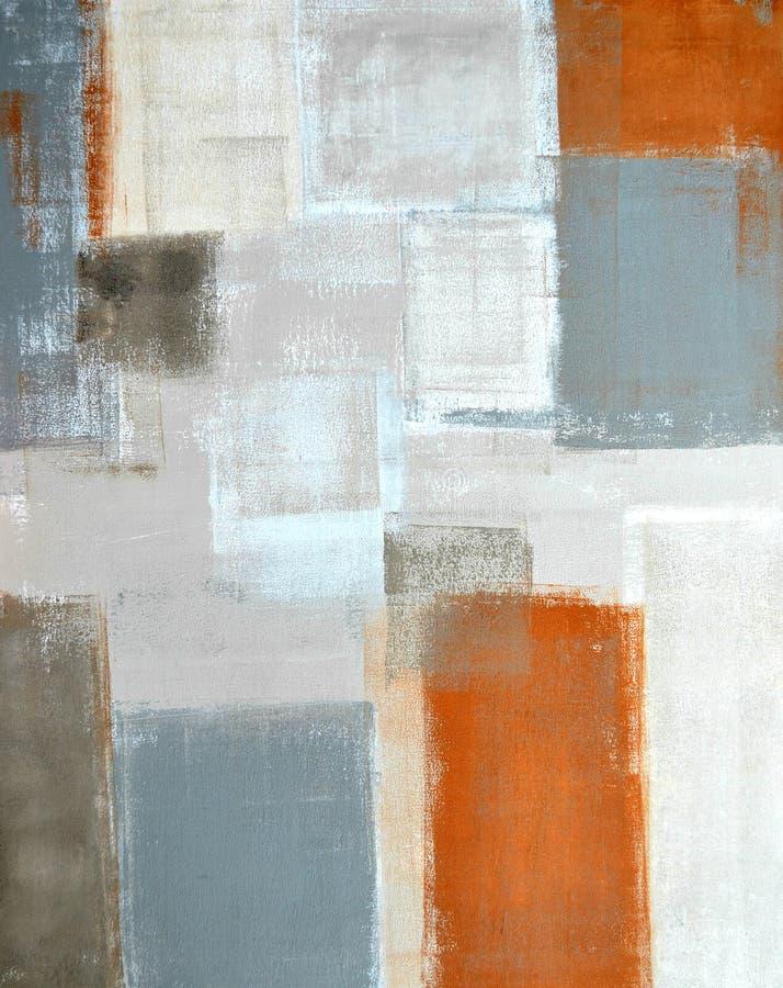 Beiga och Grey Abstract Art Painting arkivbild