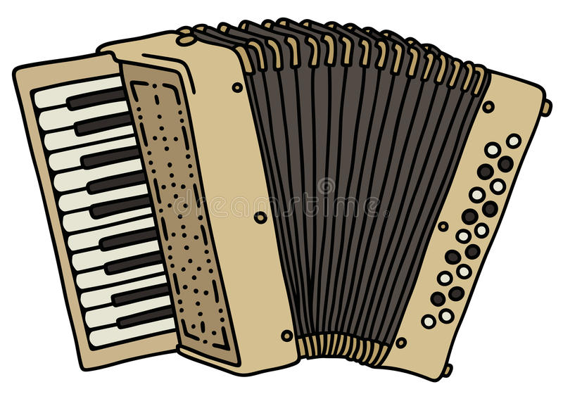 Beige accordion. Hand drawing of a classic cream accordion vector illustration