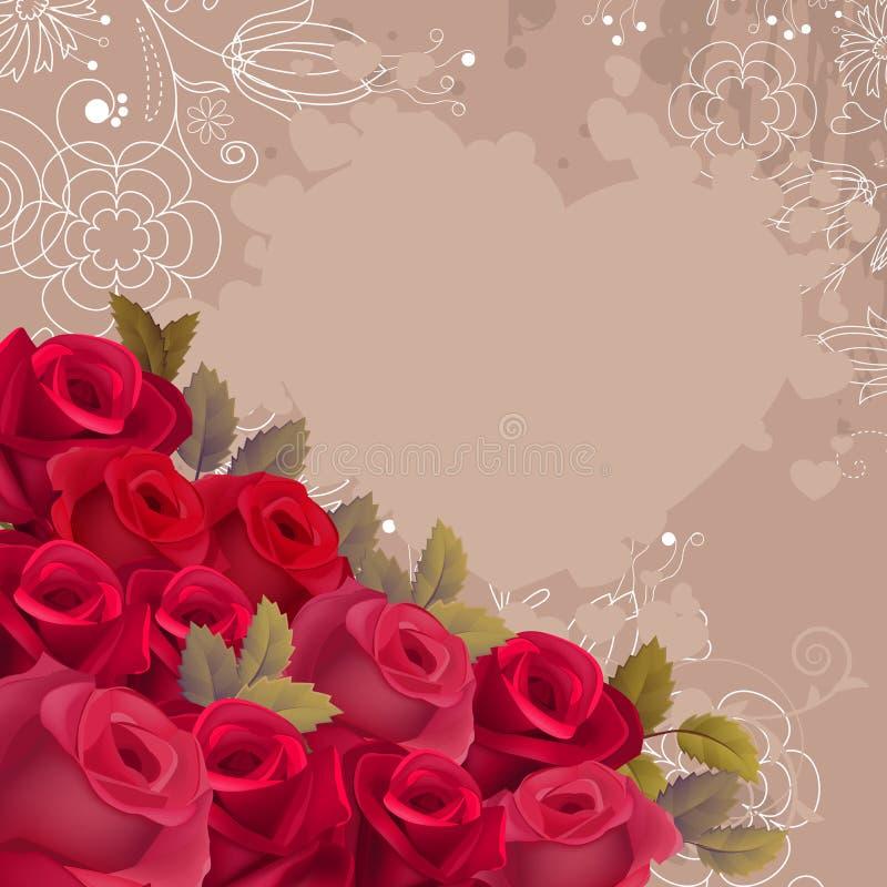 Beige achtergrond met realistische rode rozen vector illustratie