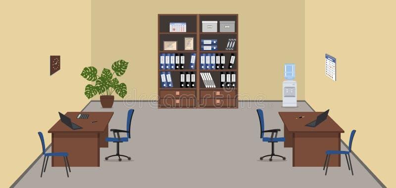 Beige Büroraum mit braunen Möbeln stock abbildung