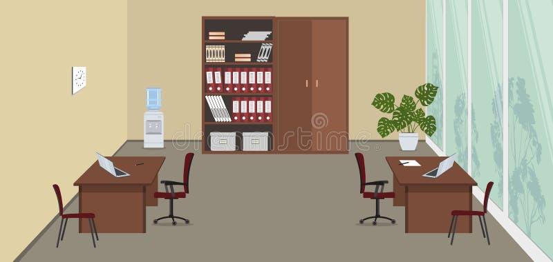 Beige Büroraum mit einem großen Fenster lizenzfreie abbildung