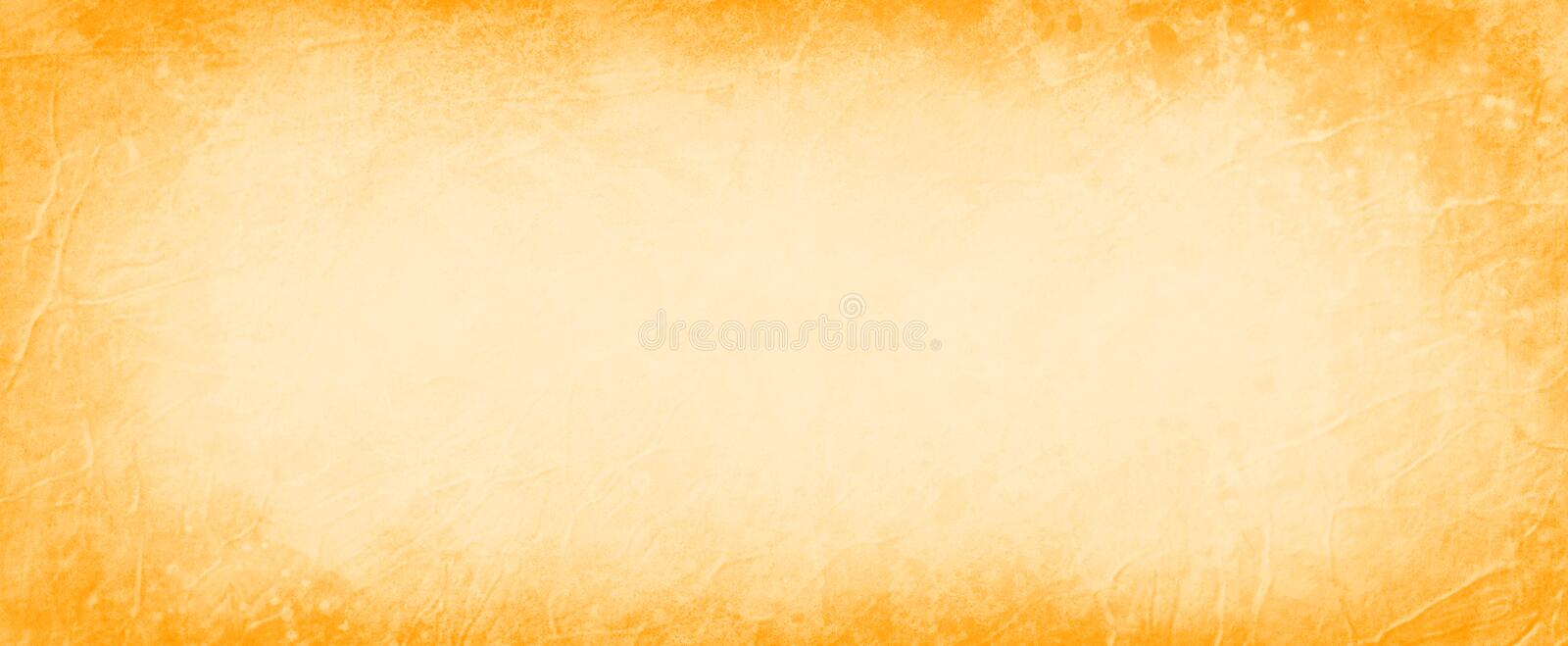 Beige background with bright orange border, abstract vintage background with grunge texture pattern and warm autumn or halloween c stock images