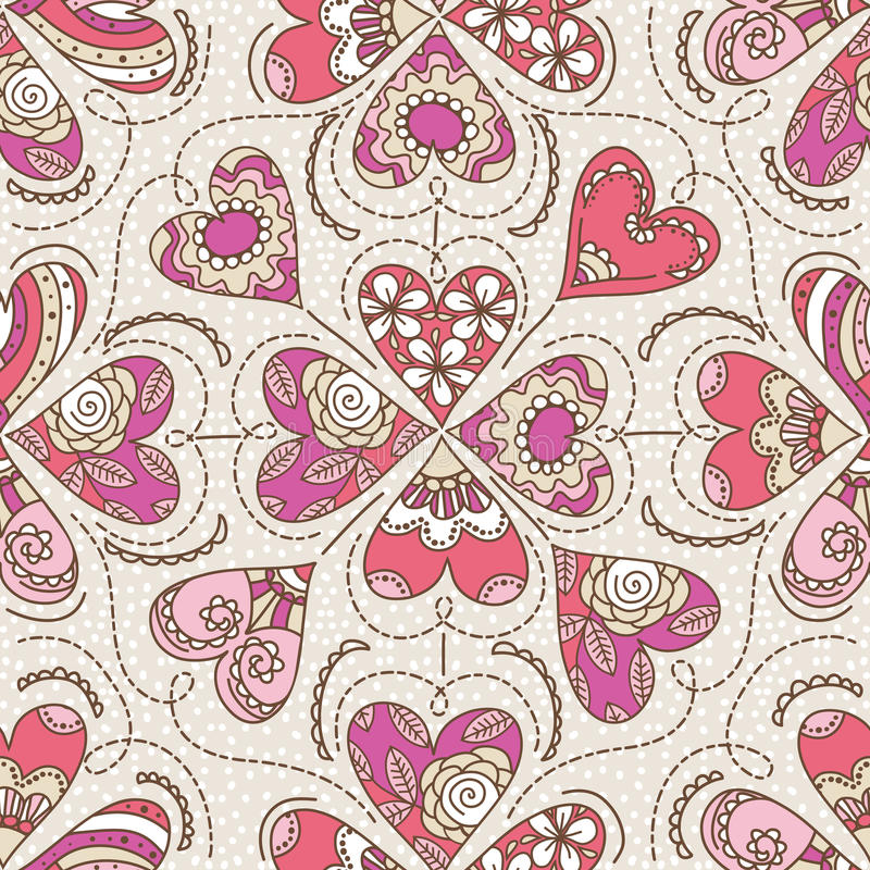 Beige background with color decorative valentine hearts stock photography