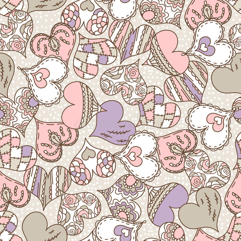 Beige background with color decorative valentine hearts stock image