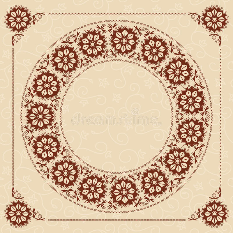 Beige vector background with dark brown frame royalty free illustration