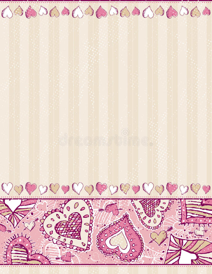 Download Beige Background With Hand Draw  Hearts Stock Vector - Illustration: 17772758