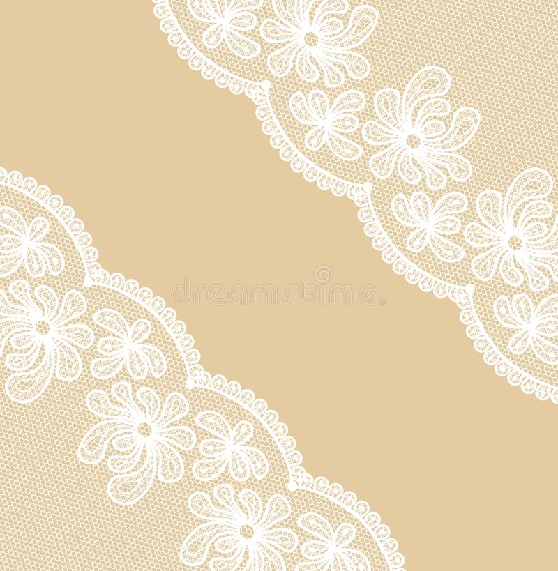 Beige background with lacy corners royalty free illustration