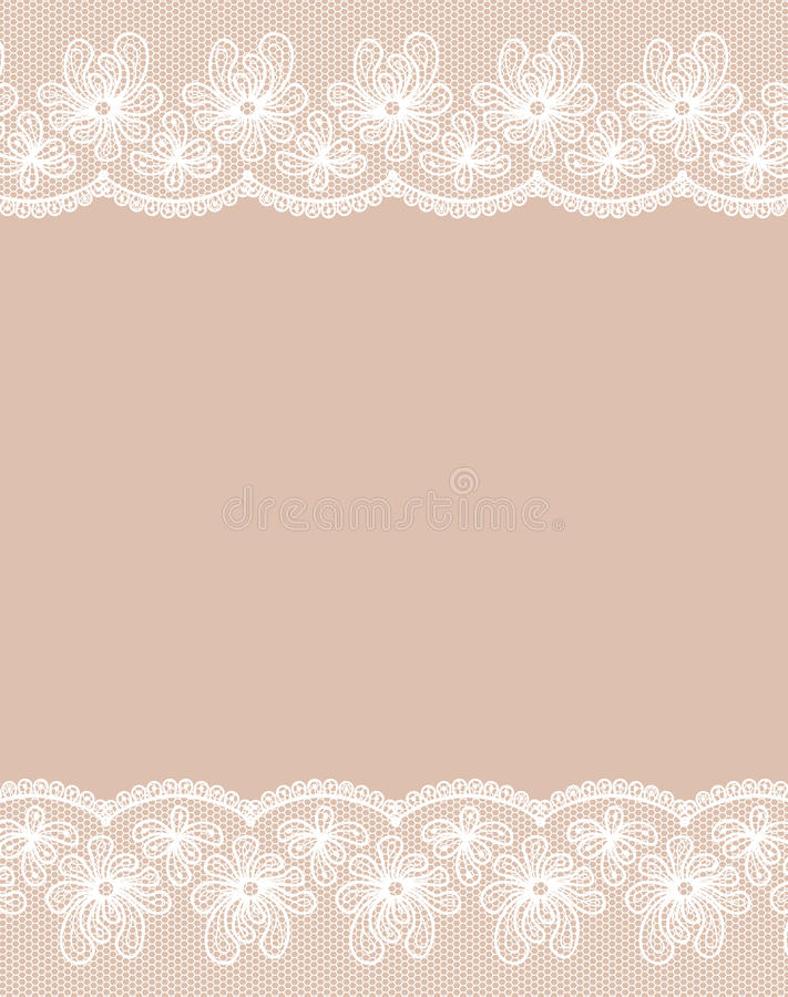 Beige background with two white lacy borders. royalty free illustration
