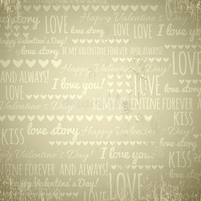 Beige background with valentine hearts and text, vector royalty free stock images