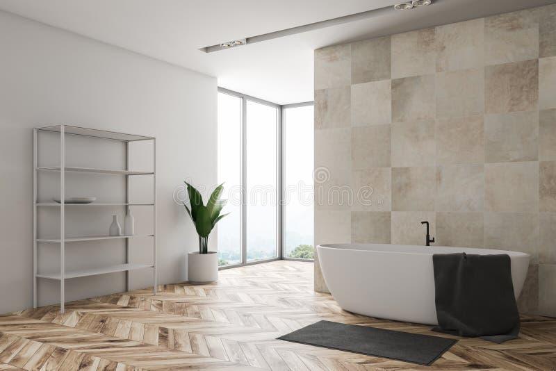 Beige Badezimmerecke des Dachbodens mit Regalen vektor abbildung