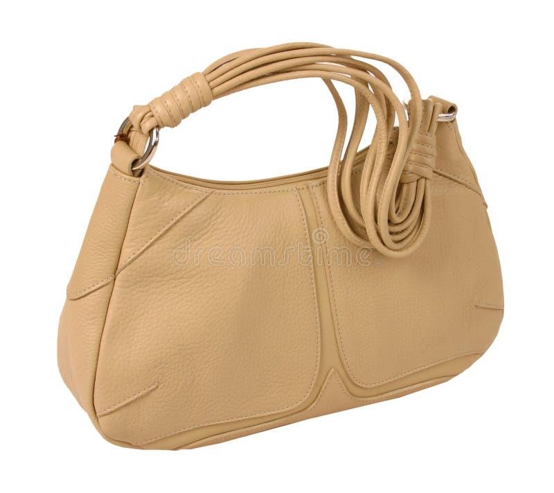 Beige bag. Isolated on white background royalty free stock image