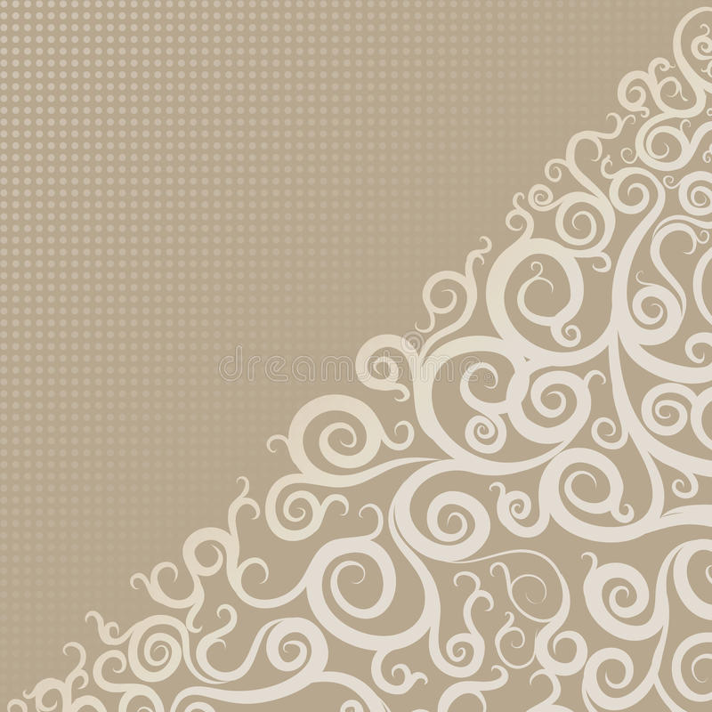Beige bakgrund med virvlar och modeller, hörn royaltyfri illustrationer
