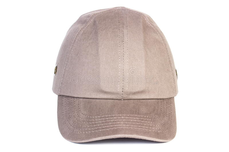 Beige baseball cap on white background, protection from sun. Closeup of beige baseball cap isolated on white background, protection from sun stock image