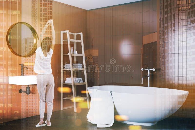 Beige bathroom conrer, white bathtub, woman stock photography