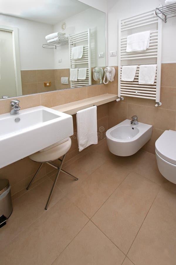 Beige bathroom corner stock image