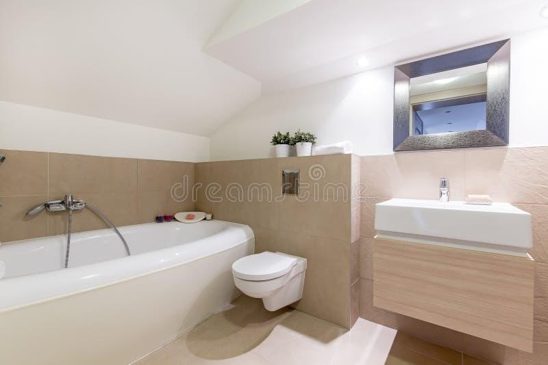 Beige bathroom interior stock photo