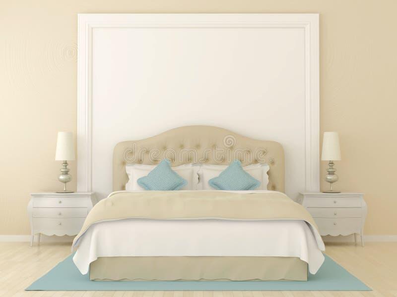 Download Beige bedroom stock photo. Image of lamp, clean, ornate - 27032912