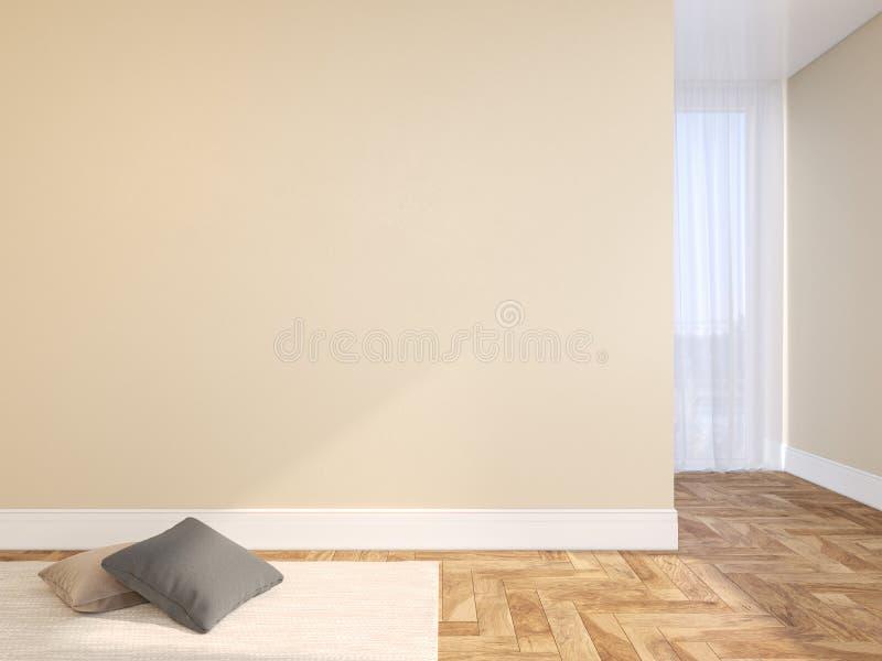 Beige blinde muur leeg binnenland met hoofdkussens, tapijt, gordijn en visgraat houten vloer stock afbeeldingen