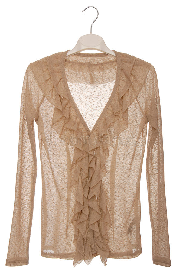 It is a beige blouse with jabot. stock photography