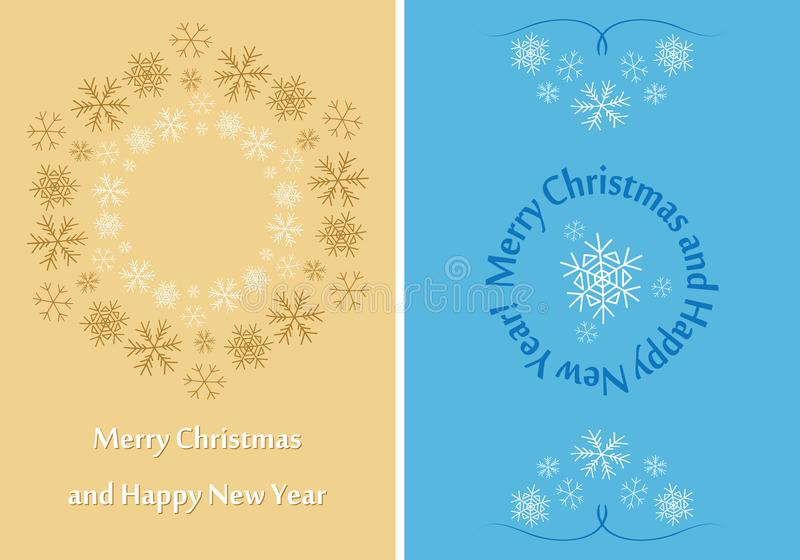 Beige and blue greeting cards for christmas - vector leaflets royalty free illustration