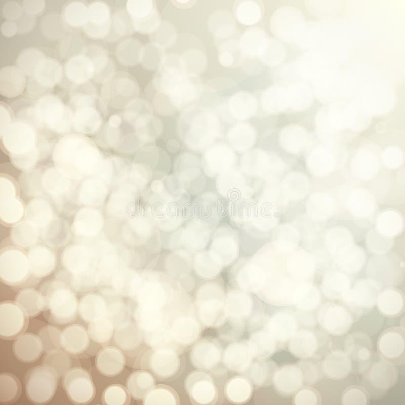 Beige bokehbakgrund, abstrakt suddig bakgrund för ljus stock illustrationer