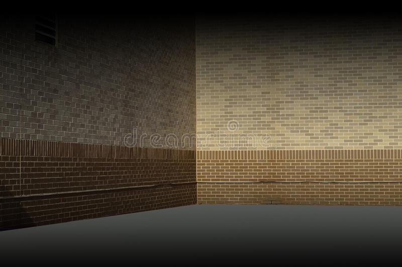 Beige Brick Wall Background Texture Illustration. Beige brick wall texture background in one point perspective - Color Gamut looked at and corrected royalty free illustration