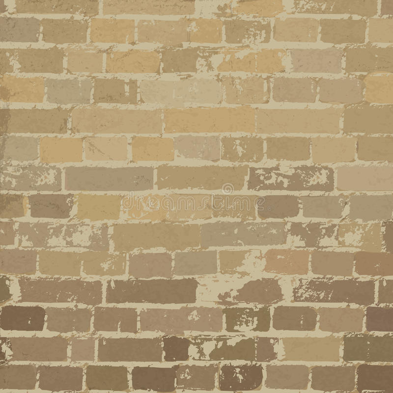 Beige brick wall texture stock illustration