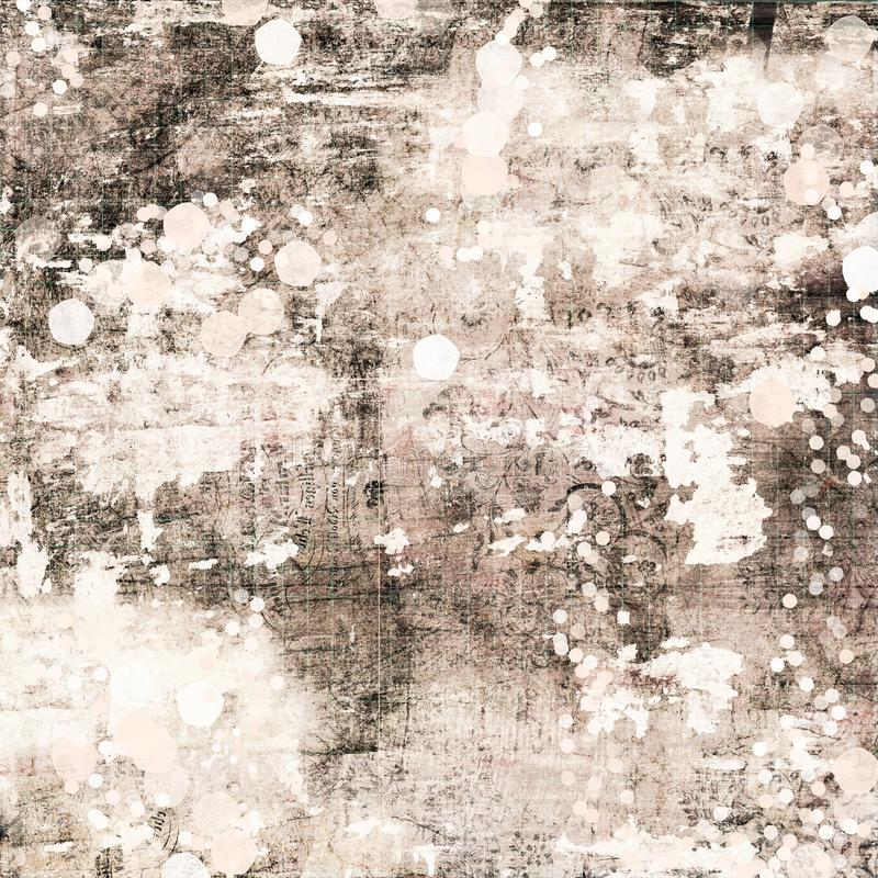 Beige and Brown Antique shabby chic grungy abstract painted background distressed texture. With bokeh - great for wall art royalty free stock photos