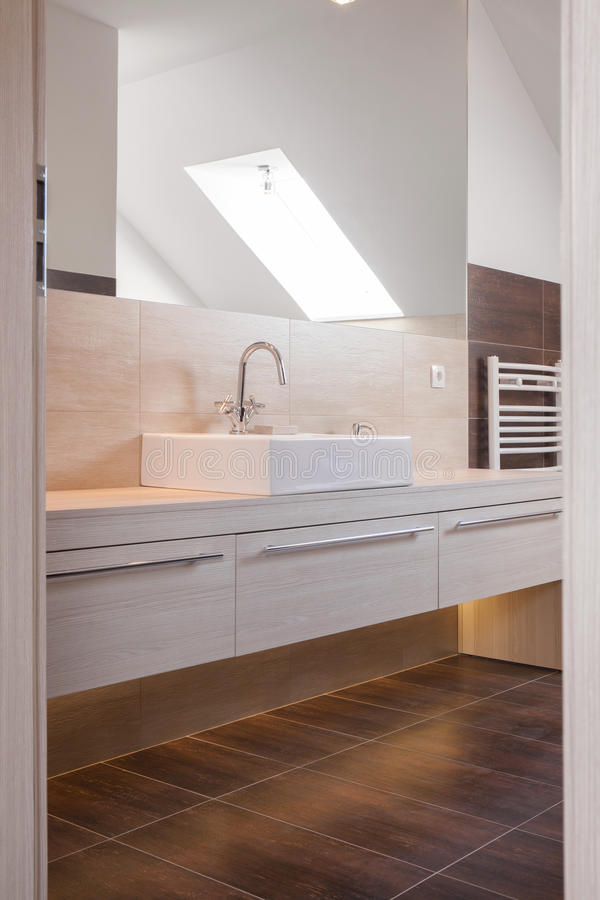 Beige and brown bathroom design. Picture of beige and brown bathroom design stock photos