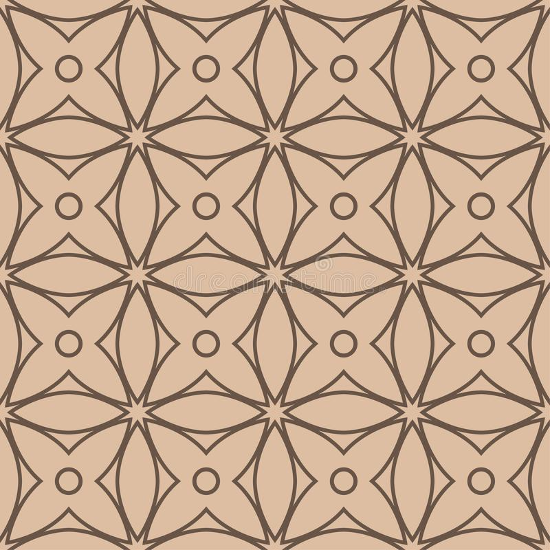 Beige and brown geometric ornament. Seamless pattern stock illustration