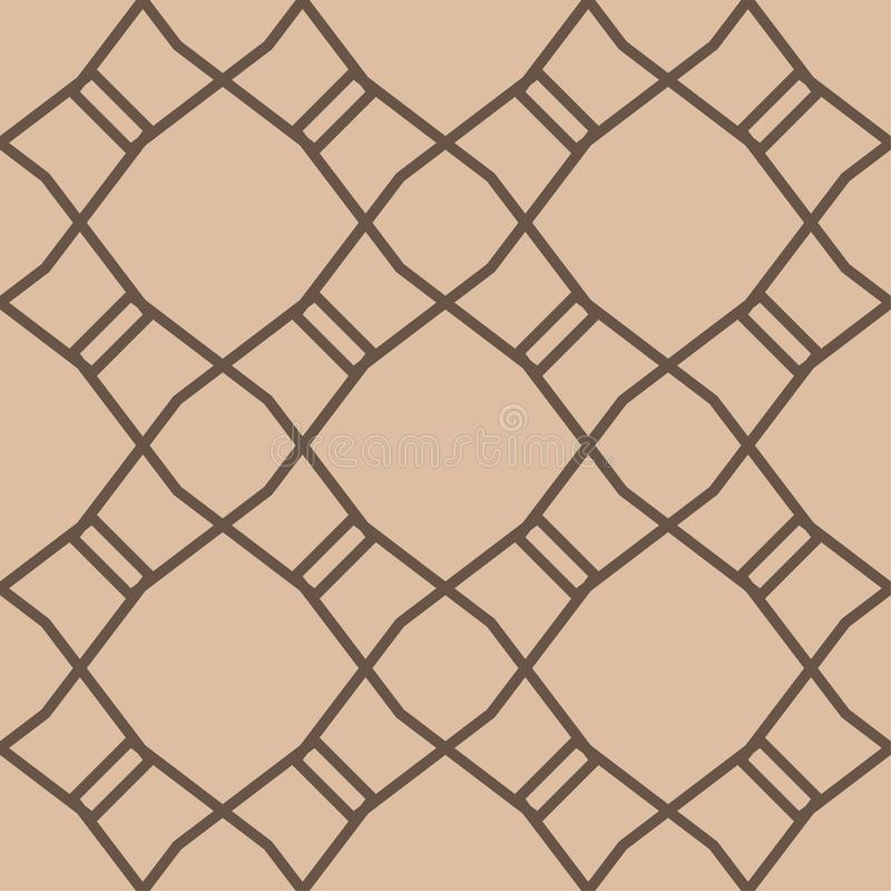 Beige and brown geometric ornament. Seamless pattern vector illustration