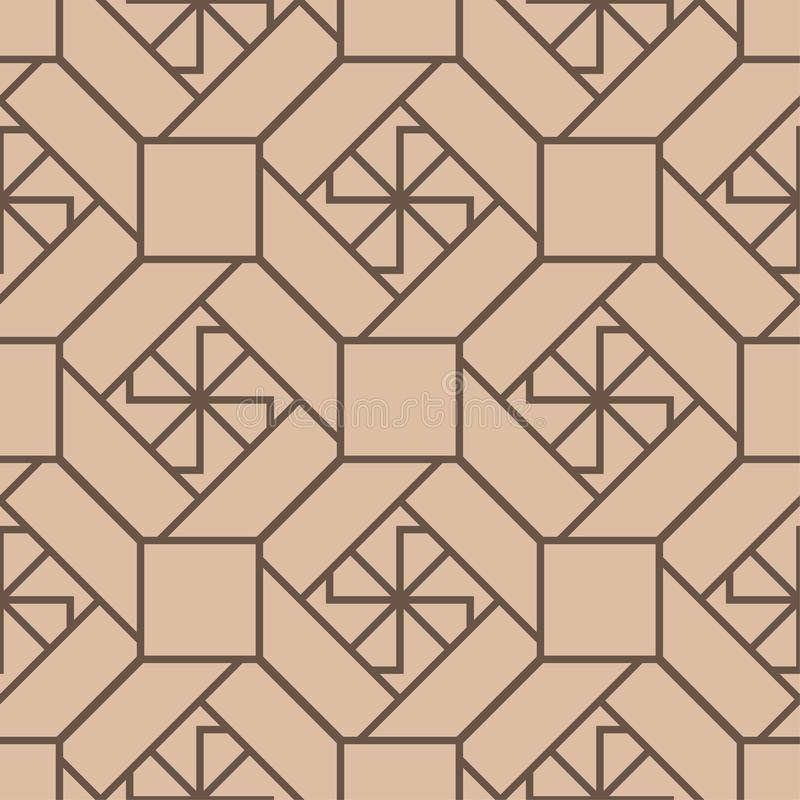 Beige and brown geometric print. Seamless pattern stock illustration
