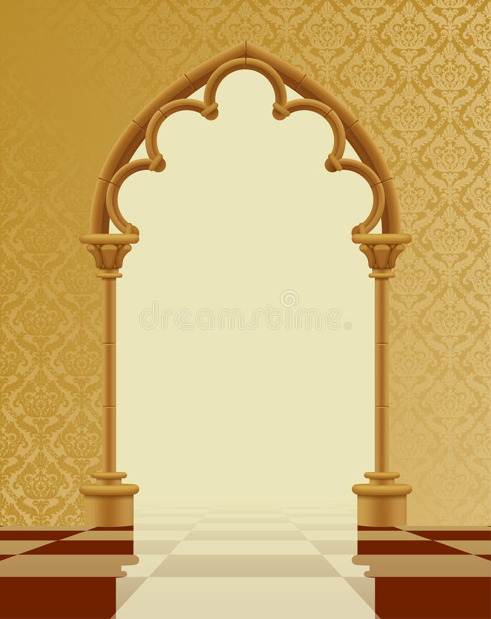 Beige and brown gothic gate with classic decorative background o. N the chess glossy floor. Vintage architecture frame. Easy to place any your background instead vector illustration
