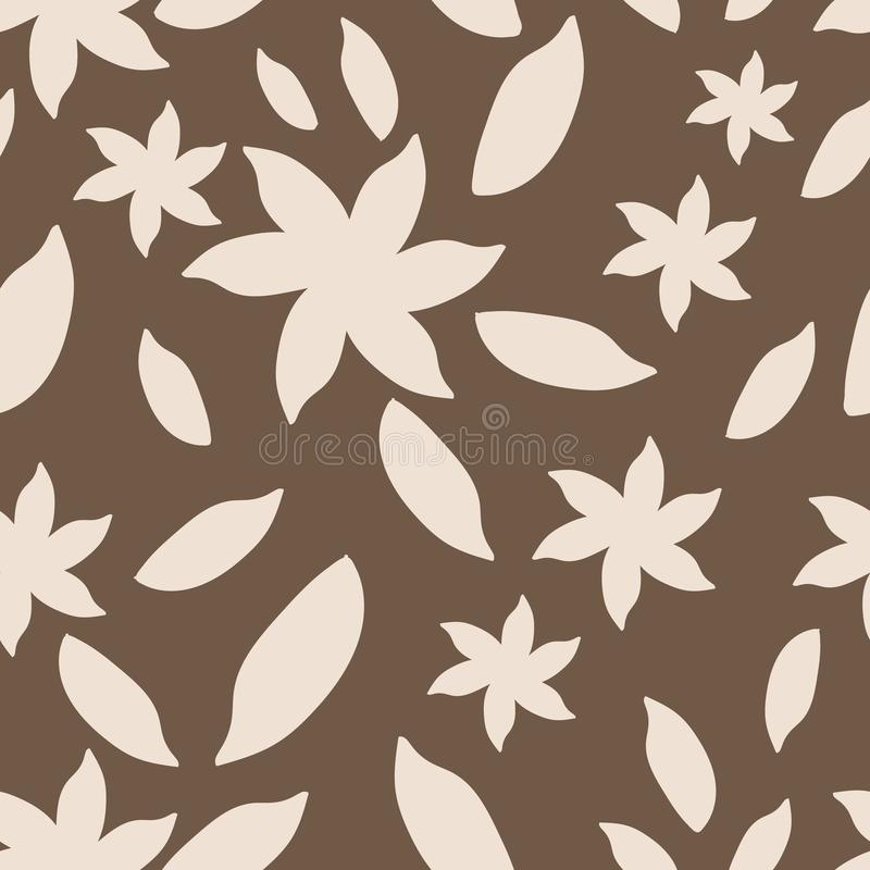 Beige and brown hand drawn abstract flowers seamless pattern. royalty free illustration