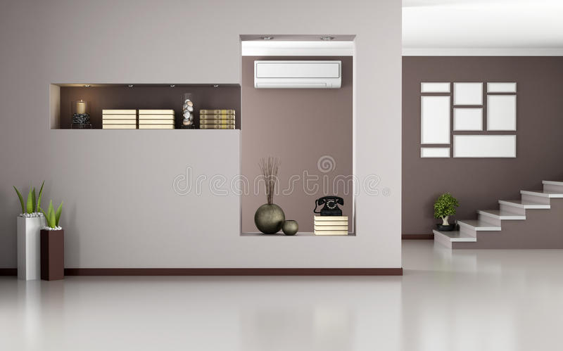 Beige and brown modern interior royalty free illustration