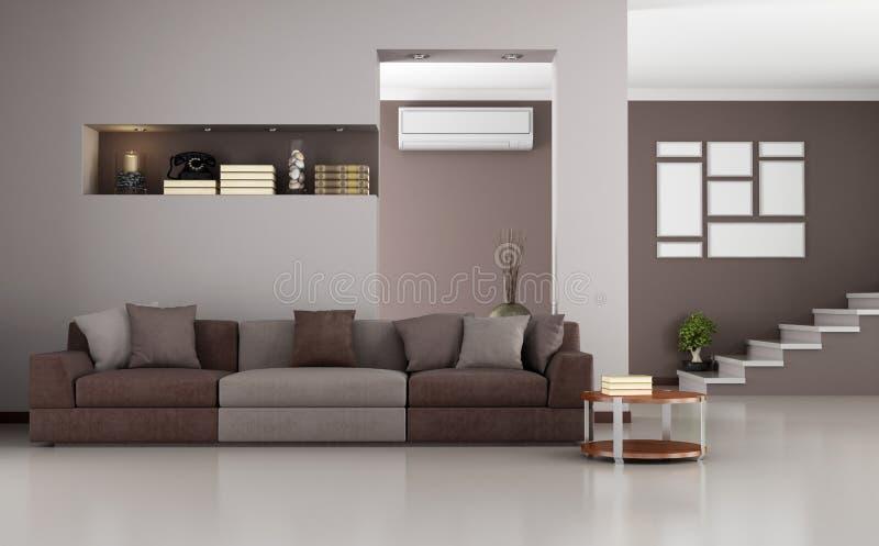 Beige and brown modern living room vector illustration