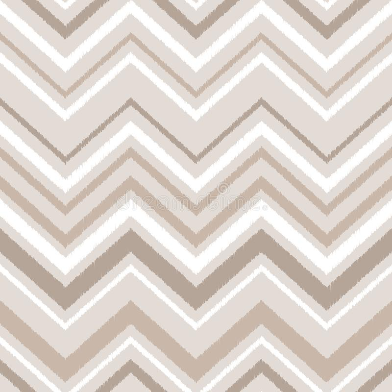 Beige brown and white chevron ikat ornament geometric abstract fabric seamless pattern, vector royalty free illustration