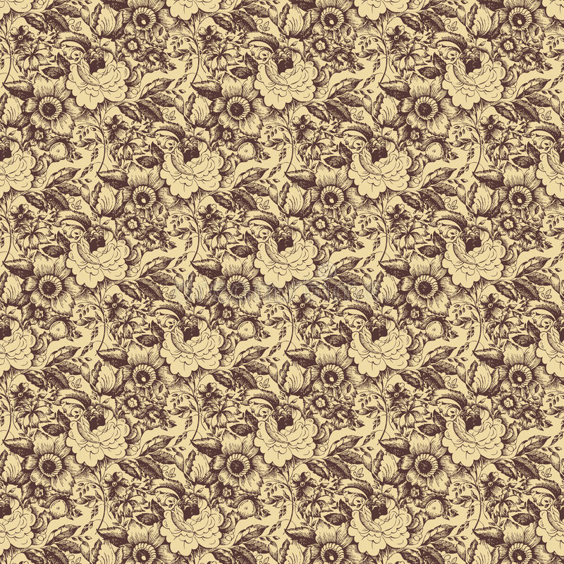 beige brun damastast blom- seamless modellrose royaltyfri illustrationer