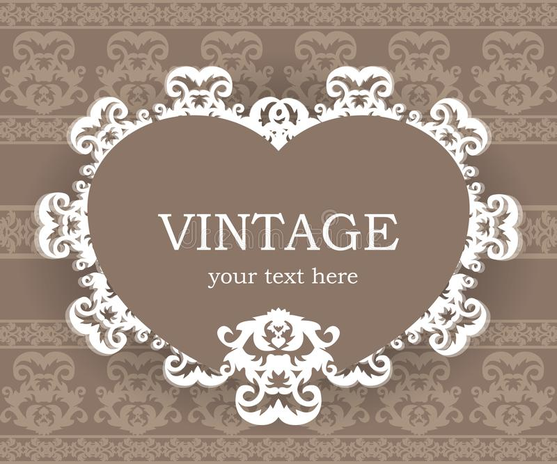 Beige classic frame. Vintage background. Elegant design element template with place for your text. Lace decoration for birthday greeting card, wedding stock illustration