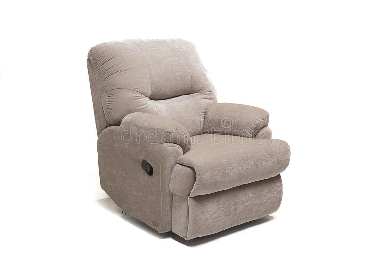 Beige clothed recliner with control knob against white background stock image