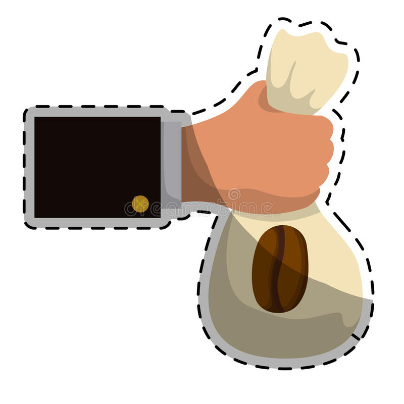 Beige coffee sack in the hand icon. Illustration image royalty free illustration