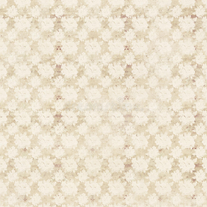 Beige and cream antique roses floral repeat background stock illustration