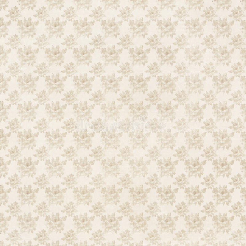 Beige and cream antique roses floral repeat background royalty free illustration