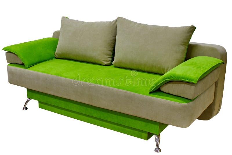 beige de sofa confortable moderne de tissu et vert clair à deux tons sans accoudoirs sur un fond blanc image stock