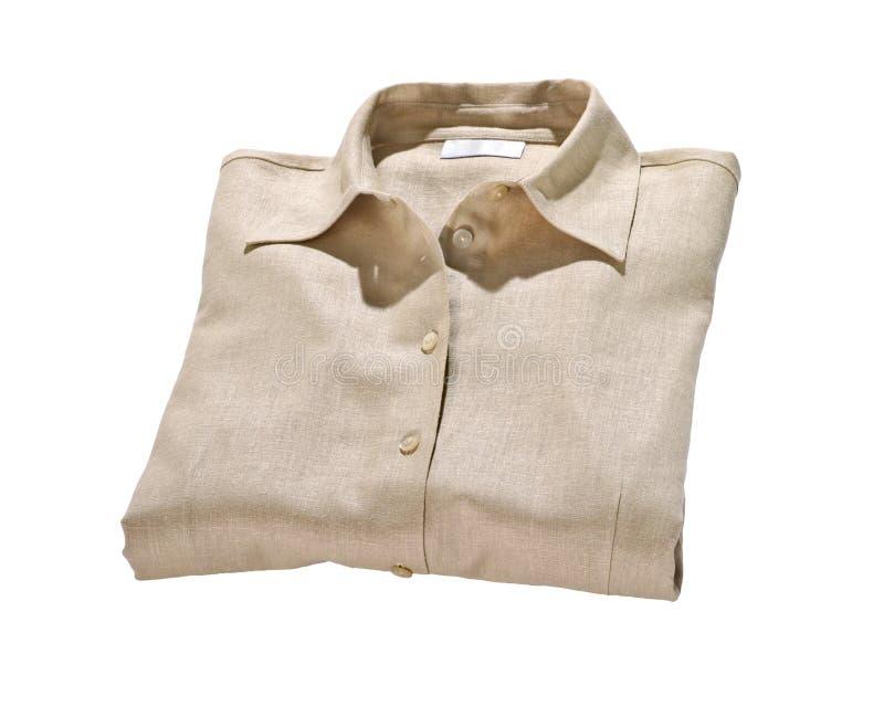 Beige di tela della blusa isolato su bianco immagini stock libere da diritti