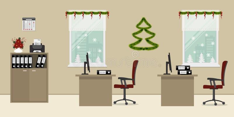 Beige die bureau, met Kerstmisdecoratie wordt verfraaid stock illustratie