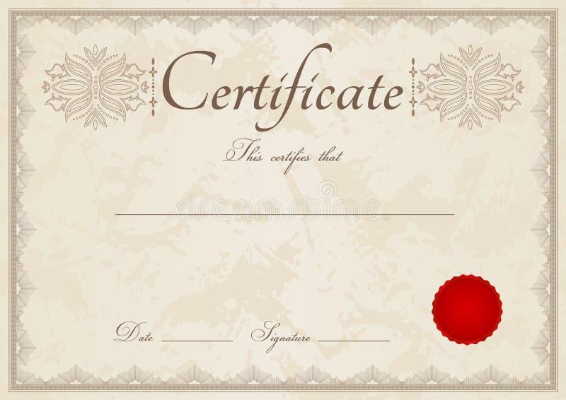 Beige diplom/certifikatbakgrund och gräns royaltyfri illustrationer
